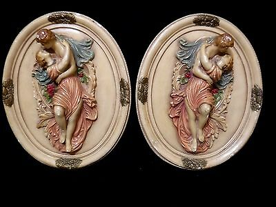 """2 VINTAGE CHALKWARE Plaster Bas Relief Oval WALL PLAQUES Roman Greek Lovers 16"""""""