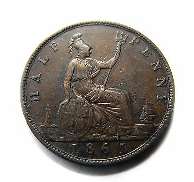 Queen Victoria 1861 Bun Head HALFPENNY in a better grade