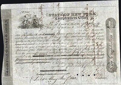 $1,800. Bond Of The New York Comptrollers Office, 1842                    Bond