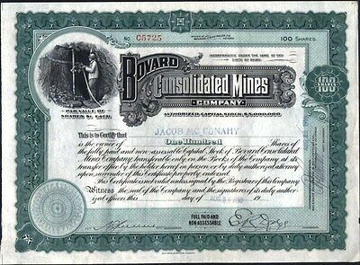 Bovard Consolidated Mines Co, 100 Shares 1910, Uncancelled, Crisp Stock Cft.