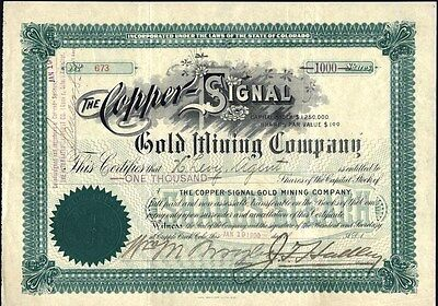 Copper - Signal Gold Mining Co, Cripple Creek, Co 1900, Uncancelled Stock Cft.