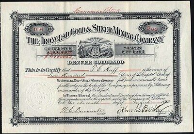Ironclad Gold & Silver Mining Co. Quray, Co., 1893 Uncancelled Stock Certificate