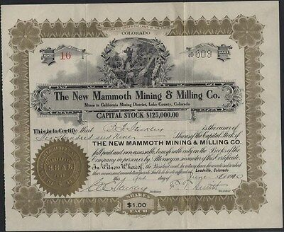 New Mammoth Mining  & Milling Co, Leadville, Co., 1900, Uncancelled Stock Cft.