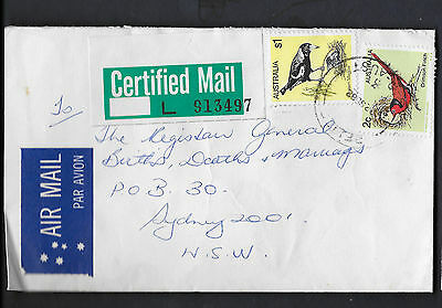 1982 QLD RELIEF 3 Certified commercial cover Postmark birds Magpie Finch