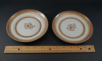Fine Pair Chinese Export Porcelain Sepia American Market Side Plates  C.1795