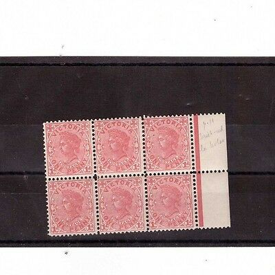 Victoria 1d QV SG 434 MINT UNHINGED Block of 6