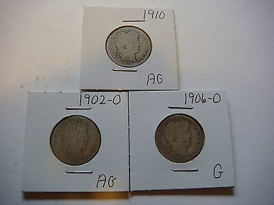 Lot of 3  Barber Quarters  1902-O, 1906-O, 1910, nice old coins  #9592