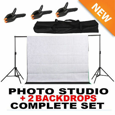 10Ft Photography Black /White Screen Studio Muslin Photo Kit Background Stand V