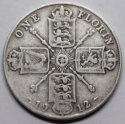 1912 King George V .925 Silver Florin - Two Shillings