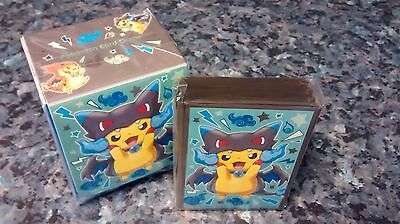 Pokemon center - Poncho Pikachu Mega Charizard X deck box and sleeves - sealed