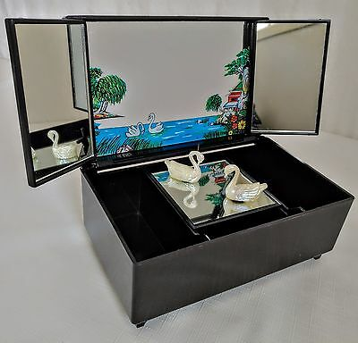Vtge Black Laquered Oriental Jewelry Box Musical w Floating Swans Mirror Design