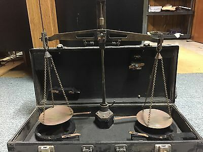 Antique Portable Brass Equal Arm Balance Lawyer Justice Scale