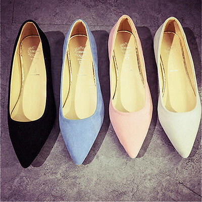Women Pointed Toe Loafers Ballet Flats Suede Ballerinas Slip-on Office Shoes New
