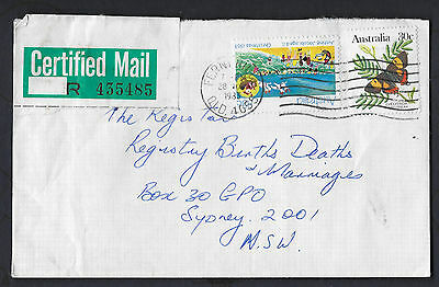 1983 QLD FERNY HILLS Certified commercial cover Postmark Christmas butterfly