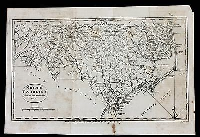 1800 North Carolina Map Hatteras Cumberland Portsmouth Bertie ORIGINAL EX-RARE