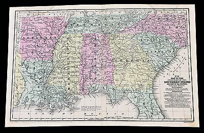 1853 Southern States Map Georgia Alabama Louisiana Tennessee Carolina ORIGINAL