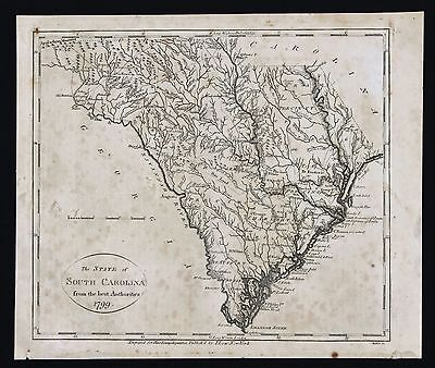 1799 South Carolina Map Charleston Hilton Head Columbia Augusta ORIGINAL EX-RARE