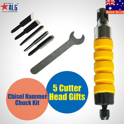 Handpiece Power Chisel Hammer Chuck Kit +5 Chisels Cutter Head Wood Carving Wood