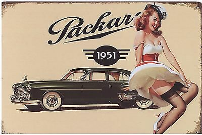 Metal Sign, 1951 Packard, Pinup Girl