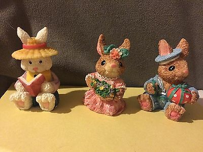 Cottontail Collection Lot Of 3 Figurines Bunny Rabbit