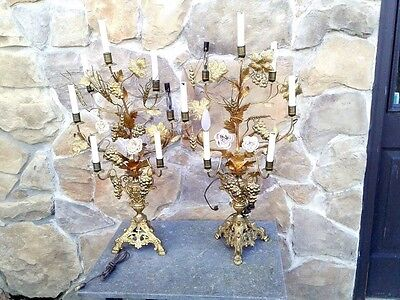 Pair of VTG Brass Victorian 6 Arm Candelabra Table Lamps Grapes & Glass Flowers