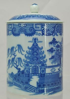 Covered Antique Pearlware Blue Staffordshire Willow & Pleasure Boat Mug 1810