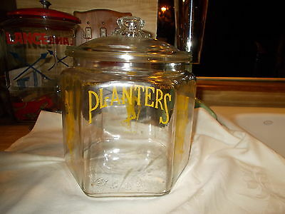 ORIGINAL 1930's  VINTAGE PLANTERS PEANUTS 6 SIDED COUNTER JAR