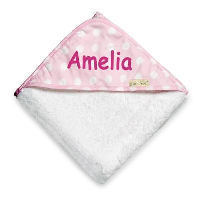 NEW Personalised Polka Dots Hooded Towel - Pink Baby Boys Girls Gifts
