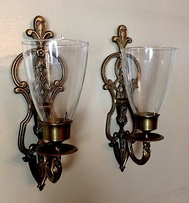 Antique Pair Brass Baldwin Crystal Wall Sconce Candle Stick Glass Chimney
