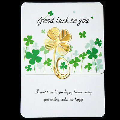 Happy Wish Gold Four-leaf Clover Reading Metal Clip Bookmark Book Mark Note EX