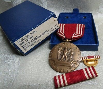 WWII Good Conduct Medal and Ribbons Lot Of 3 In Original Box by Medallic Art Co.
