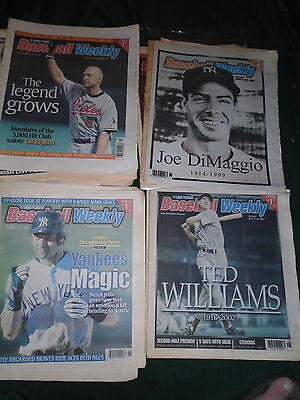 Baseball Weekly - Lot Of 28 Issues - 1990's - 2000 Ripken,DiMaggio,McGwire,Jeter