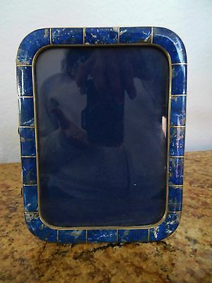 BEAUTIFUL INLAID LAPIS STONE AND SILVER PICTURE FRAME 5 X 6 1/2 in.