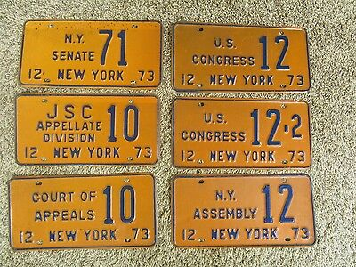 LOT OF 6 RARE New York POLITICAL License Plate Tag Congress Senate House L@@K!!!