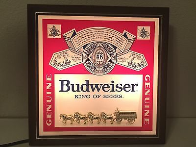 """Vintage Budweiser King of Beers Lighted Sign, 13.5"""" x 13.5"""""""
