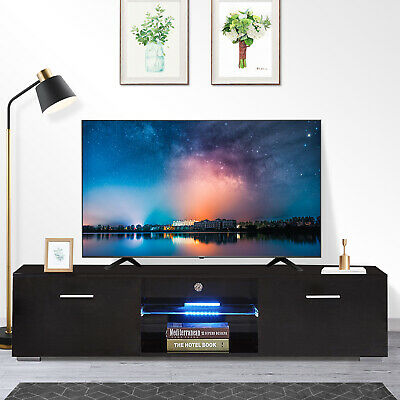 """63"""" High Gloss Black LED Shelves TV Stand Unit Cabinet Drawers Console Furniture"""