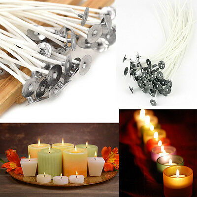 100pcs Candle Wicks Pre Waxed Cotton Core Wick with Sustainers 9/10/15/20cm