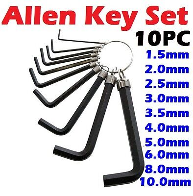 10 x Metric/Imperial Wrench Set Allen Hex Hexagon Key With Keyring