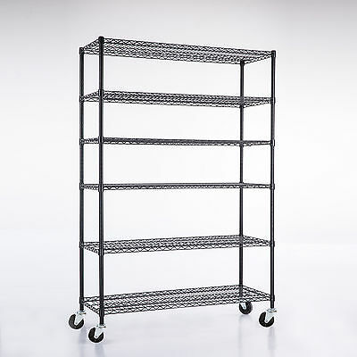 "Adjustable 6 Tier 82""x48""x18"" Steel Layer Wire Shelving Rack Shelf"
