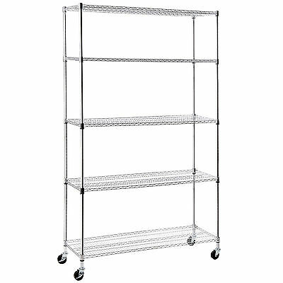 "82""x48""x18"" Adjustable 5 Tier Wire Shelving Rack Chrome Steel Shelf"
