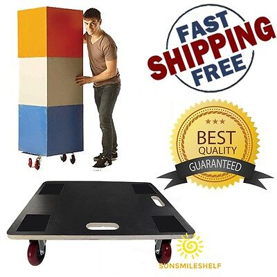 XL Rectangle Wood Platform Wooden Dolly 4 Polyurethane Casters Wheels 23 x 19 In