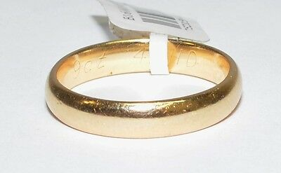 Solid 9k Yellow Gold Mens/Womens Plain Wedding Band 3.5mm Wide #752159