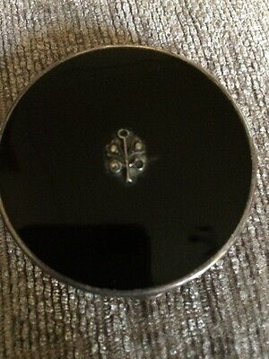 Black and silver small powder compact or pill box vintage