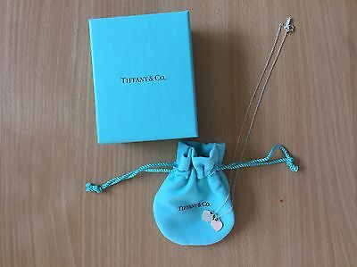 Tiffany And Co Genuine Mini Double Heart Tag Pendant Necklace