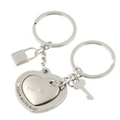 Stainless Steel Keychain Heart to Heart  Creative Keyring Set for Couples Lovers