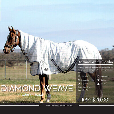 Horse Rug Cotton Combo Satin Lined Attached Neck Rug Set Ripstop Summer sheet