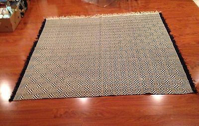 """Reversible Hand-Woven Coverlet Navy Blue and Ecru 78"""" x 84"""" (Reduced)"""