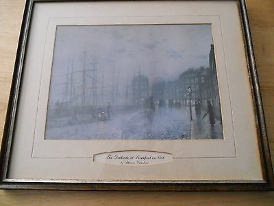 The dockside at Liverpool in 1886 by Atkinson Grimshaw print in frame.