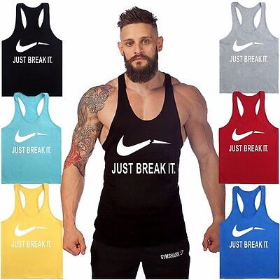 Muscle Mens Stringer Bodybuilding Tank Top Gym Racerback Singlet Sleeveless Vest