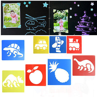 6Pcs Kids DIY Animal Plastic Picture Drawing Template Stencils Rulers Painting